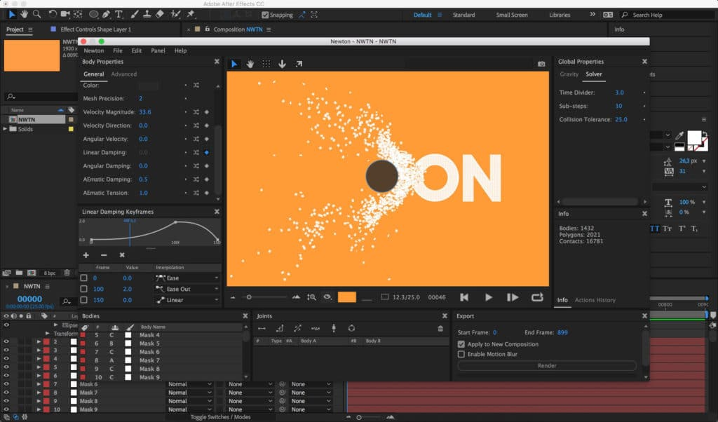 NEWTON 3 | Creative tool development for After Effects